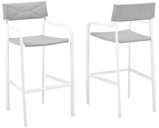 Raleigh Outdoor Bar Stool White & Gray (Set of 2)