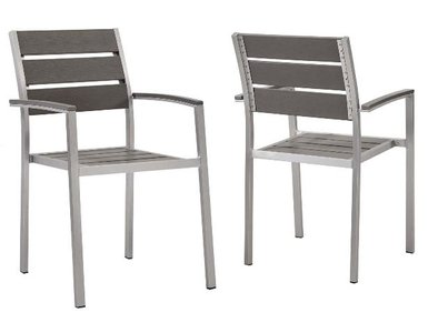Shore Dining Chair Silver & Gray (Set of 2)