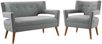 Sheer Upholstered Loveseat And Armchair Set Light Gray