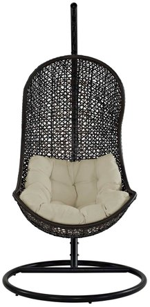 Parlay Swing Outdoor Lounge Chair Espresso & Beige