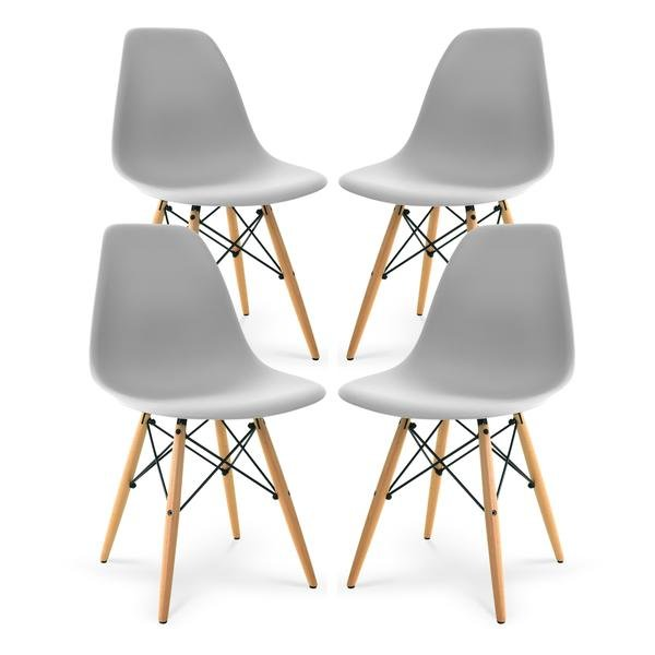 Superb Buran Dining Chair Natural Base Harbor Gray Set Of 4 Customarchery Wood Chair Design Ideas Customarcherynet