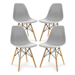 Buran Dining Chair Natural Base Harbor Gray (Set of 4)