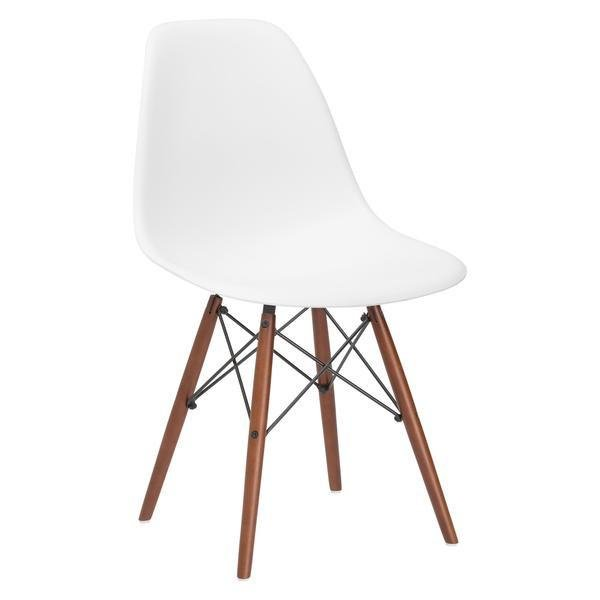Buran Dining Chair Walnut Base White