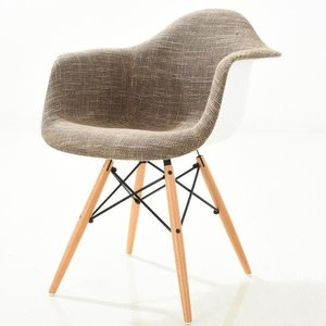 Buran Padded Arm Chair Natural Base Taupe