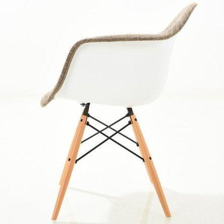 Buran Padded Arm Chair Natural Base Taupe