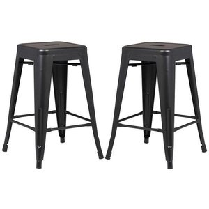 "Holsak 24"" Counter Height Stool Black (Set of 2)"