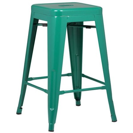 "Holsak 24"" Counter Height Stool Dark Green (Set of 2)"