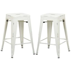 "Holsak 24"" Counter Height Stool Distressed White (Set of 2)"