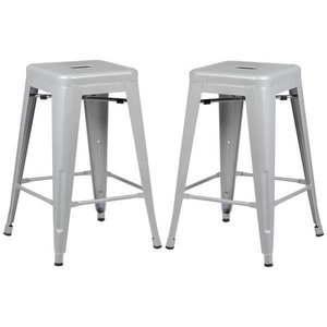"Holsak 24"" Counter Height Stool Gray (Set of 2)"