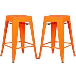 "Holsak 24"" Counter Height Stool Orange (Set of 2)"