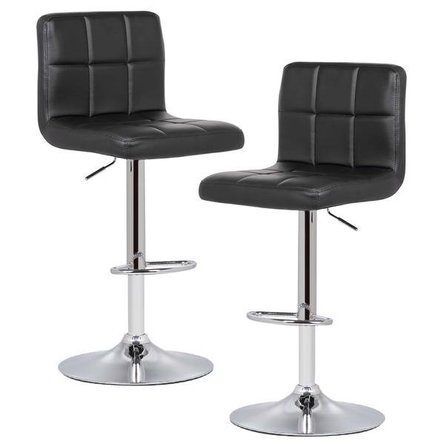 Aberdeen Adjustable Bar Stool Black (Set of 2)