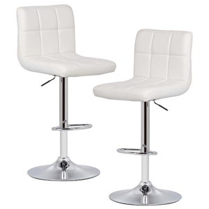 Aberdeen Adjustable Bar Stool White (Set of 2)