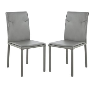 Maxwell Vegan Leather Chair Gray (Set Of 2)
