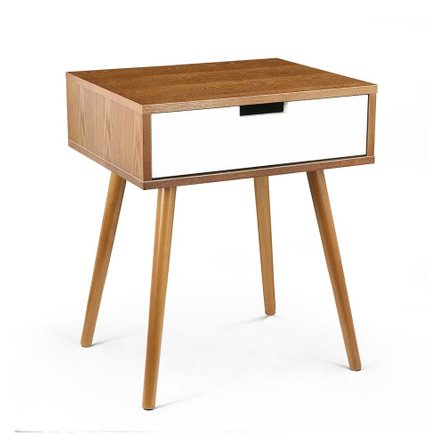 Sylvester Side Table Walnut & White