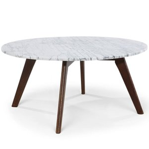Renrabu Marble Round Coffee Table Walnut