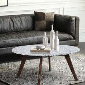 Renrabu Marble Round Coffee Table Walnut