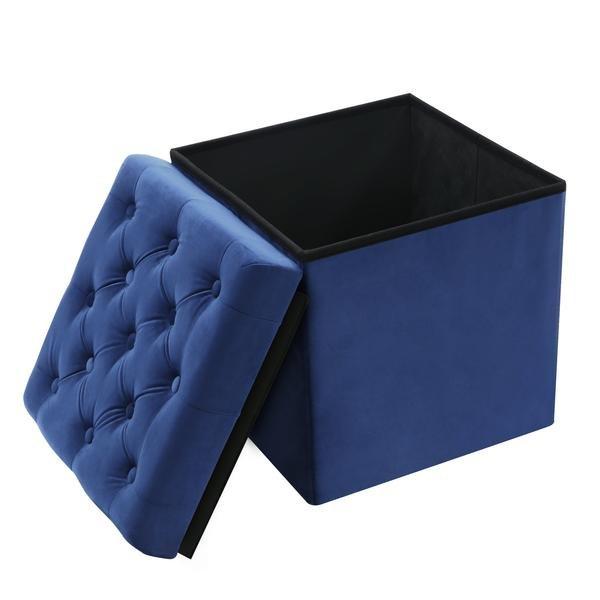 Superieur Hudson Velvet Cube Storage Ottoman Blue