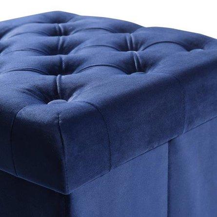 Hudson Velvet Cube Storage Ottoman Blue