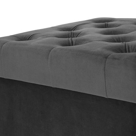 Hudson Velvet Cube Storage Ottoman Gray