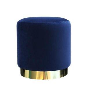 Glen Velvet Ottoman Blue