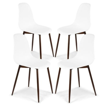 Becher Sculpted Dining Chairs White (Set of 4)
