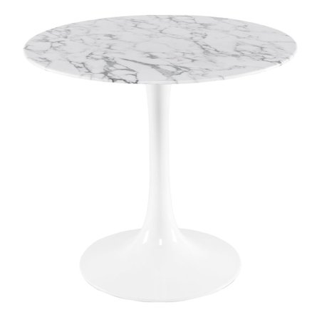 "Daisy 40"" Round Dining Table White Marble"