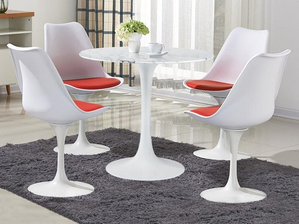 """Daisy 40"""" Round Dining Table White Marble"""