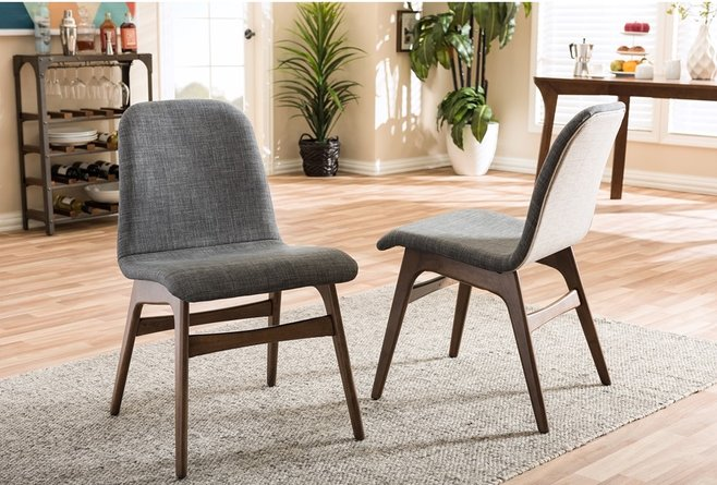 Embrace Dining Chair Dark Gray & Walnut (Set of 2)