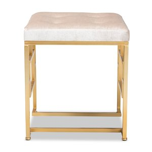 Riska Upholstered Ottoman Beige And Gold