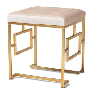 Riska Upholstered Ottoman Beige And Gold