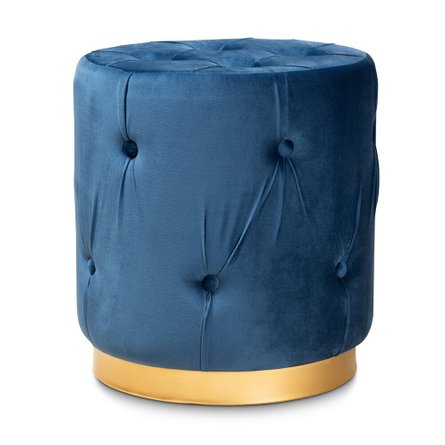 Rummer Upholstered Ottoman Navy Blue And Gold