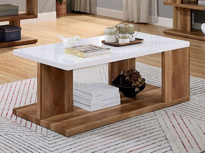 Majken Coffee Table White And Natural Tone