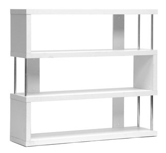 Baxton Studio Barnes Three-Shelf Modern Bookcase White