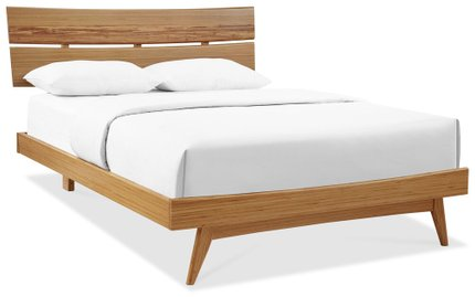 Azara Platform Tiger Accent Queen Bed Caramelized