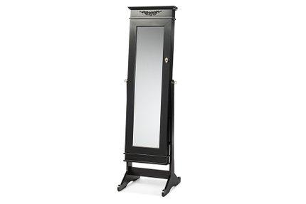 Baxton Studio Bimini Free Standing Mirror Jewelry Armoire Black