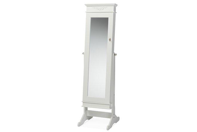 Bimini Free Standing Mirror Jewelry Armoire White