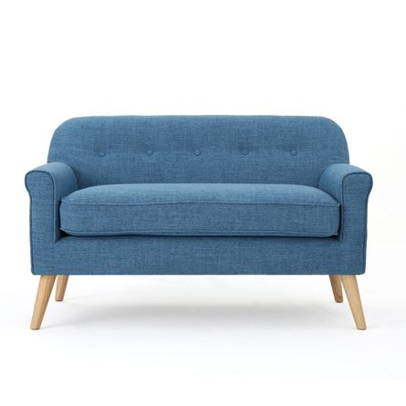Emily Mid Century Modern Loveseat Muted Blue