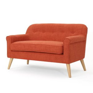 Emily Mid Century Modern Loveseat Muted Orange