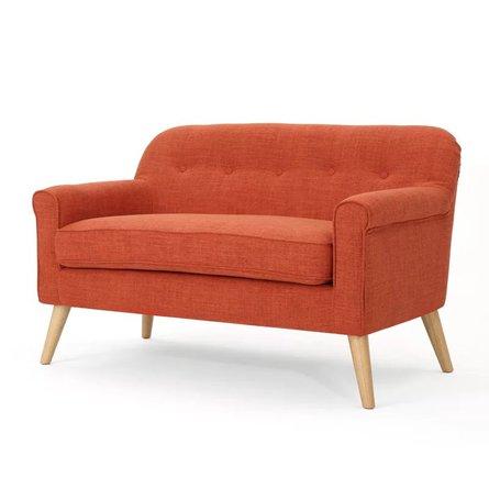Emily Mid Century Modern Loveseat Muted Orange