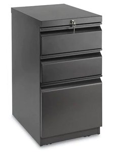Mobile Pedestal File Cabinet 3 Drawer Black