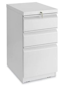 Mobile Pedestal File Cabinet 3 Drawer Light Gray
