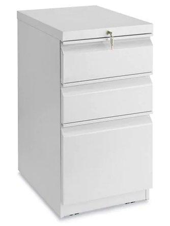 Mobile Pedestal File Cabinet 3 Drawer Light Gray