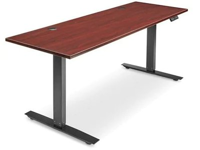 Adjustable Height Desk 72 x 24 Mahogany
