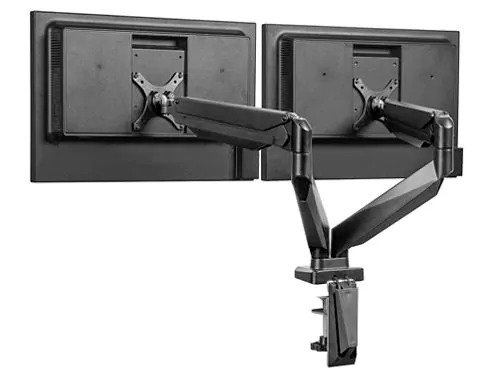 Easy-Adjust Desktop Monitor Mount Dual Black