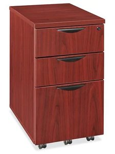 Mobile Pedestal File Cabinet 3 Drawer Mahogany