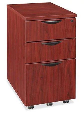Mobile Pedestal File Cabinet 3 Drawer Mahogany