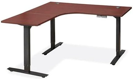 Adjustable Height L-Desk 60 x 60 Mahogany