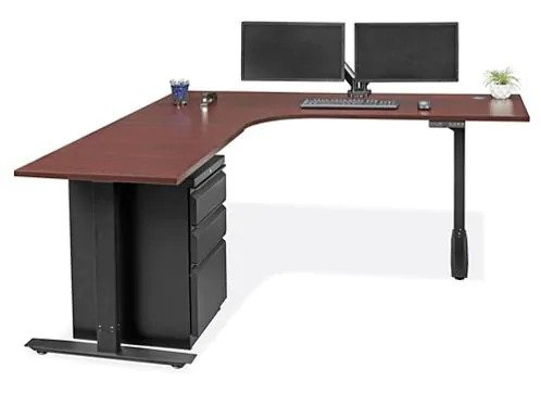 Adjustable Height L-Desk 72 x 72 Mahogany