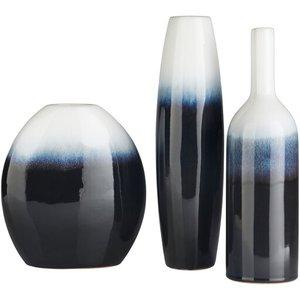 Harris Vase Navy And Ivory (Set of 3)