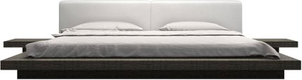 Worth Cal King Bed White Eco Leather And Gray Oak